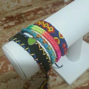 Bracelets friendship Set of 4 rainbow blue NEW